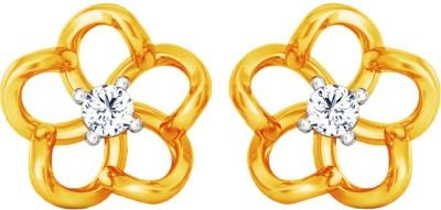 JacknJewel Floral Enchanting Yellow Gold 18kt Diamond Stud Earring