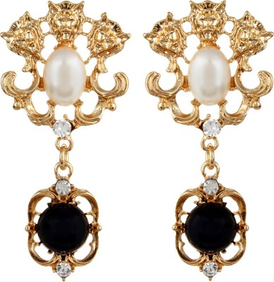 Oomph Gold, Black & White Crystal & Pearl Fashion Jewellery for Women, Girls & Ladies Metal Drop Earring