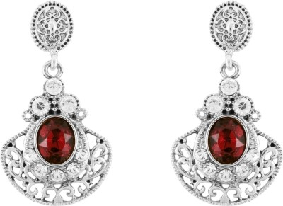 Donna Red Floral Fan Crystal Metal Drop Earring