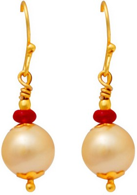Ijuels Princess Golden Charm Delight Crystal, Pearl Brass Drop Earring
