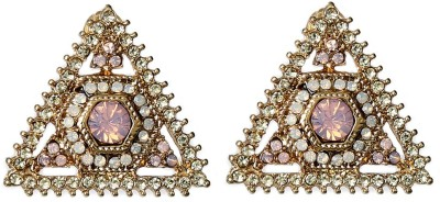 Prystal Pink Center Gold Tringle Alloy Stud Earring