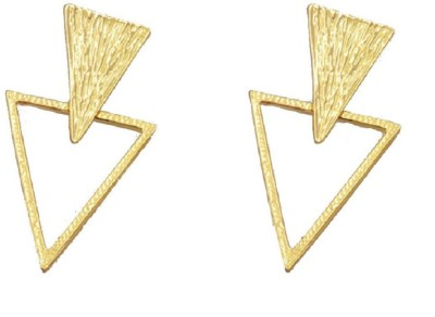 Bohocraft Bohemian Rose Gold Plated Textured Triangle Alloy Drop Earring, Stud Earring