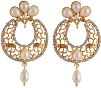 Sewad Elegant Light weight golden with pearl hanging for women Copper Chandbali Earring