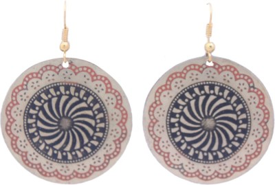 FSA Jewels Engraved Red And Black Floral Brass Dangle Earring