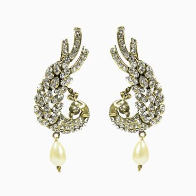 Artisan Sparkling Golden & White Peacock Metal Jhumki Earring