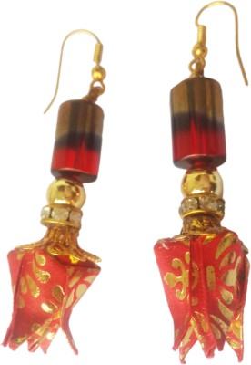 Origami Noshi Red & Gold Shaded Bead Tulip Paper Dangle Earring