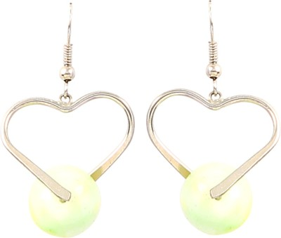 Jewel Funk Heart Shaped with Green Ball Alloy Dangle Earring
