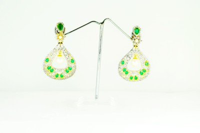 Chouhan Stylish latkan chandbali green Metal Chandbali Earring