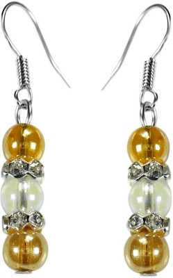 Crystals & Beads Topaz Gold Colour Round Crystal & Opal White Crystal with Diamond Spacer Acrylic, Glass, Crystal Dangle Earring