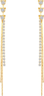 Sansar India Golden White Crystal Long Chain Dangler Drop Alloy Tassel Earring