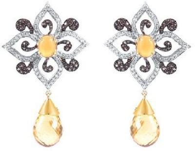 VelvetCase Floral Gemstone Earrings Citrine Silver Drop Earring