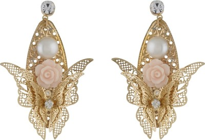One Stop Fashion Smart And Elegant Gold Colour With A Pink Ceramic Pink Rose Alloy Stud Earring