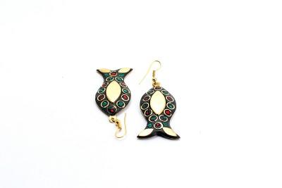 Zidox Zidox multicoloured fish shaped handmade Brass Dangle Earring