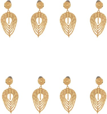 Dubbai Gold Spiral Pattern Metal Earring Set