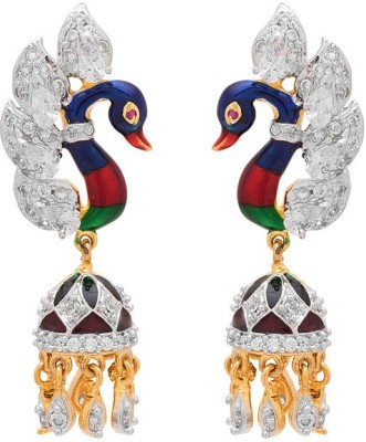 Rajwada Arts Fusion Peacock Design Brass Dangle Earring