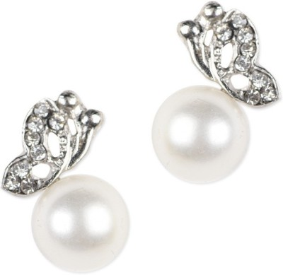 Ambitione White Pearl Zinc, Alloy Stud Earring