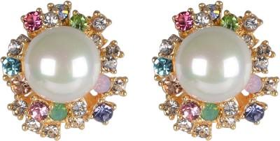Shining Jewel Fashionable Bling Crystal Brass Stud Earring