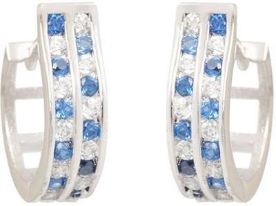 TUAN delightful casual & western wear Cubic Zirconia, Sapphire Sterling Silver Hoop Earring