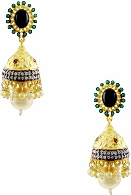 Orniza Rajwadi Earrings in Black Color with Golden Polish Brass Drop Earring