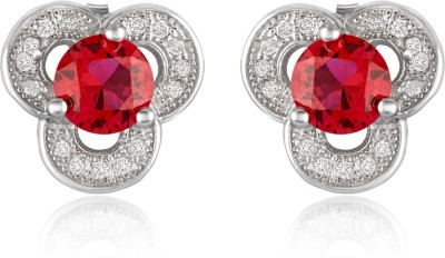 Om Jewells Tri-Red Cubic Zirconia Sterling Silver Stud Earring