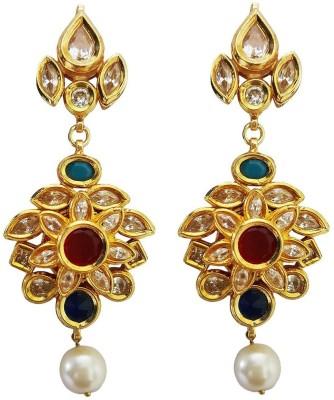 Mehrunnisa Traditional Ethnic Long Gold Tone Kundan Pearl Metal Drop Earring