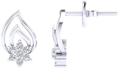 VelvetCase Diamond Leafy Floral Earring Silver Stud Earring