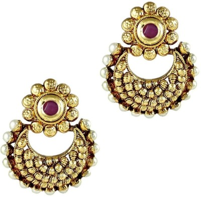 Gehnamart Traditional Round Red Pearl Alloy Chandbali Earring