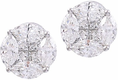 Abhipriya Jewellers Illusion Earrings Yellow Gold 14kt Diamond Stud Earring
