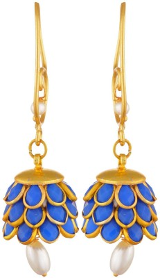 SB Fashions pachi earrings with violet stones Brass Jhumki Earring