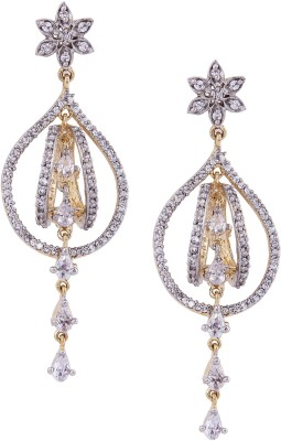 Giftmania American Diamond Pear Shape Brass Drop Earring
