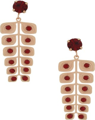 Sankisho Falling Leaf Rose Gold Metal, Glass, Alloy Drop Earring