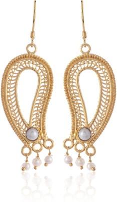 Thingalicious Paisley Pearl Alloy Dangle Earring