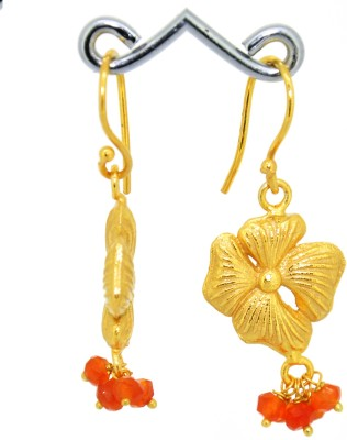 Casa De Plata Round Orange Carnelian Brass Earring Carnelian Brass Dangle Earring