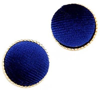 Jewel Touch Blank Sapphire Blue Velvet Round Alloy Stud Earring