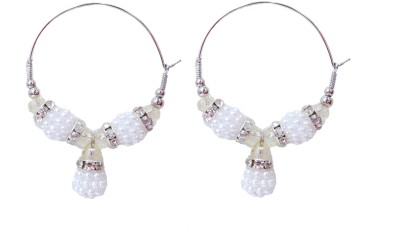 NM Products White Alloy Jhumki Earring