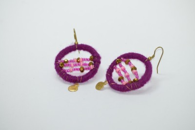 Ba No Batwo Purple Rangakriti Handmade Earrings Cotton Dori, Plastic Dangle Earring