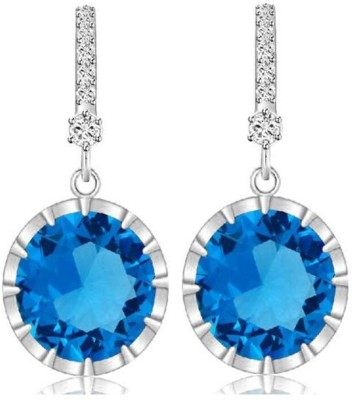 Caratcube Blue Silver 18K White Gold Plated Austrian Bali Style Circle Crystal Alloy Drop Earring