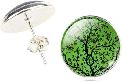 iSweven Fashion Jewelry Art Tree Glass Cabochon Silver 2015 New For Girls Alloy Stud Earring