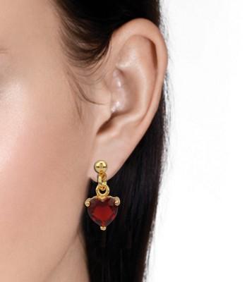 Vaishnavi High Quality 22kt Gold Coated Heart Design shining Swarovski Elements stays long life Copper Dangle Earring