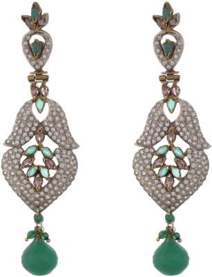 Parshwa Jewellery Green Designer Brass Drop Earring