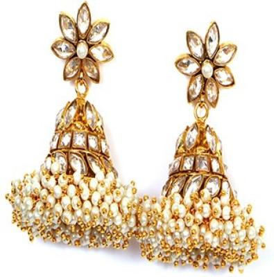 Johara Fashion JF28 Pearl Metal, Stone Jhumki Earring