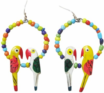 Juhi Malhotra Multicolor Love Bird Wood Drop Earring