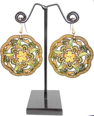 GiftPiper Enamelled Brass Danglers- Flower&Leaf Pattern Enamel Earring Set