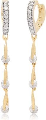 Jewel Shine Golden Diamond Bali with 3 crystal drop Alloy Huggie Earring