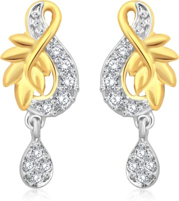 Classic Beautiful Leaf Gold And Rhodium Plated Earrings for Women [CJ1001ERG] Cubic Zirconia Alloy Drop Earring