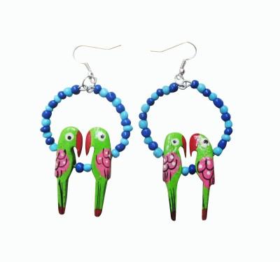 Juhi Malhotra Green And Blue Beauty Wood Dangle Earring