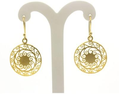 Eighth Fold Eighth Fold Golden Filigree Earrings Brass Drop Earring, Dangle Earring