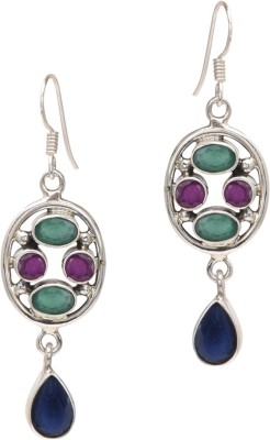 Watch Me Multicoloured Amethyst - Bright Ruby, Emerald, Sapphire Sterling Silver Dangle Earring