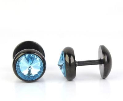 Fab Fashion Light Blue Cubic Zirconia Stainless Steel Stud Earring