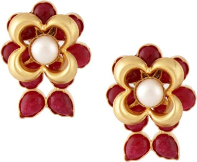Styleos Pearly Flower 2 Crystal Alloy Stud Earring